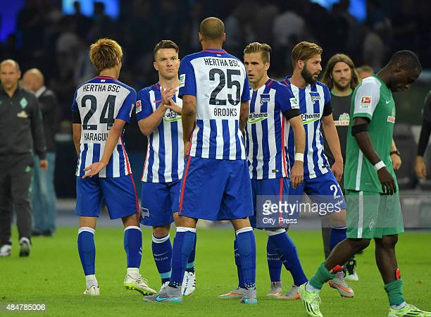 Hertha Team highfives each other during the game between Hertha BSC and Werder Bremen on August 21 2015 in Berlin Germany