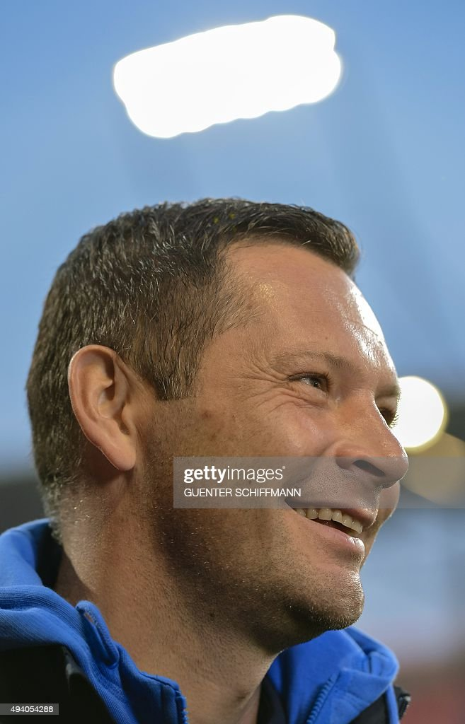 Hertha's Hungarian head coach Pal Dardai arrives for the German first division football Bundesliga match between FC Ingolstadt and Hertha BSC on October 24, 2015 in Ingolstadt, southern Germany.