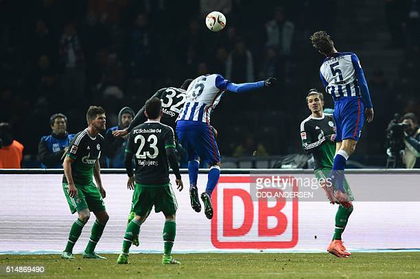 Hertha's midfielder Niklas Stark scores the 20 goal during the German first division Bundesliga football match Hertha Berlin v Schalke 04 at the...