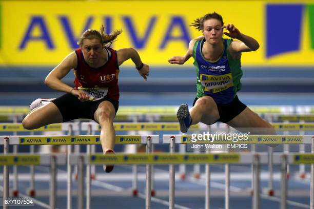Herts Phoenix's Claire Humphries and Sheffield's Rosie Marino in action during the Women's 60m Hurdles B Final