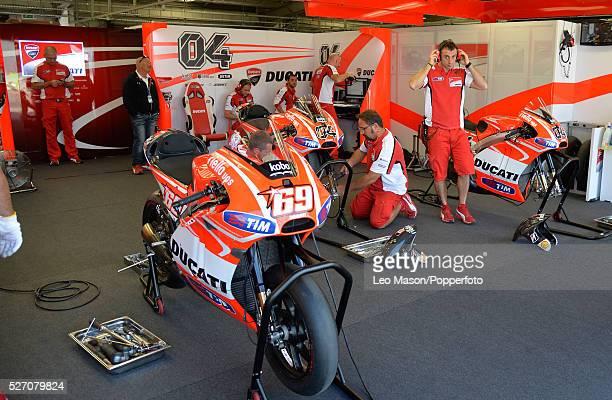 Hertz British MotoGP Motorbikes Silverstone UK Ducati Team pit lane garage