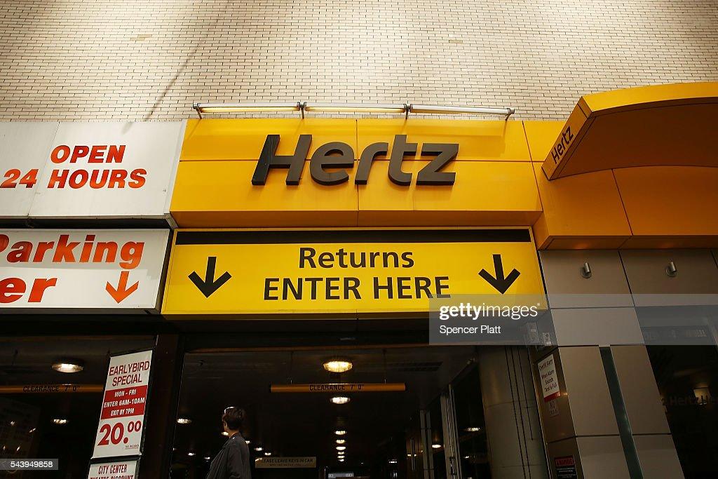 Car Rental Manhattan >> A Hertz Car Rental Agency Stands In Manhattan On June 30 2016 In