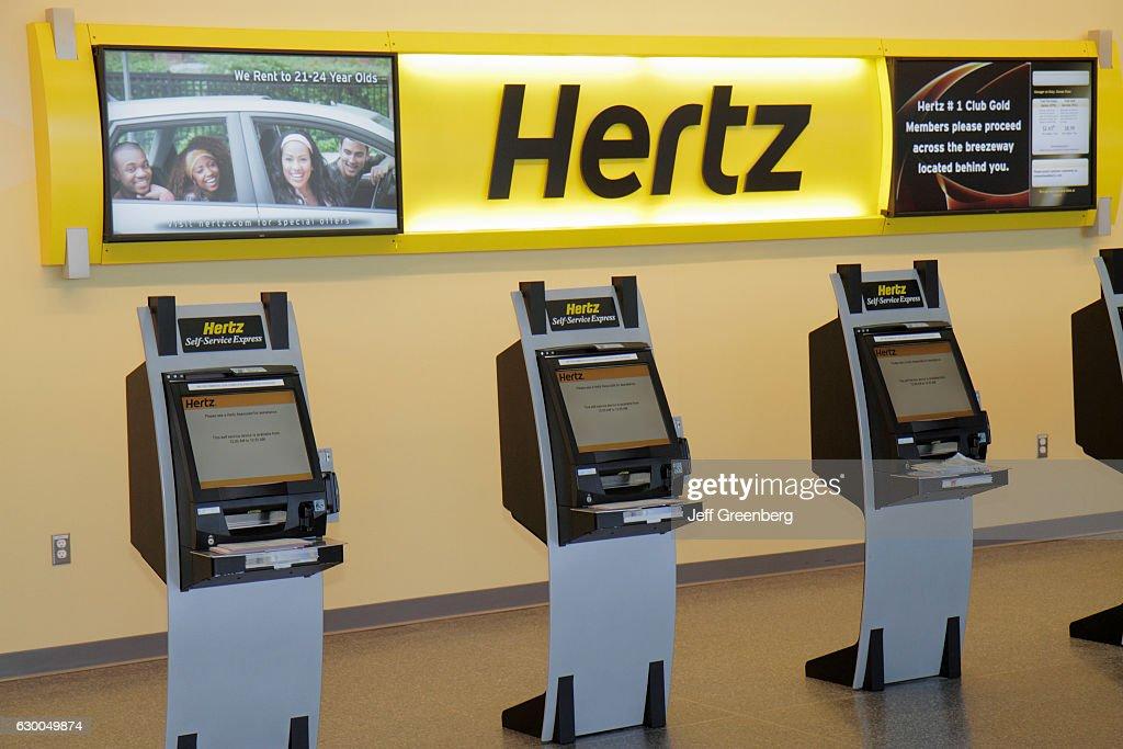 Hertz Car Rental Self Service Express kiosk  News Photo