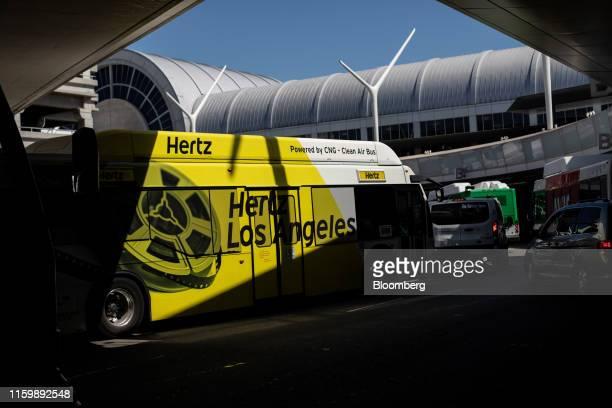 Hertz Global Holdings Inc. Shuttle bus drives through Los Angeles International Airport in Los Angeles, California, U.S., on Friday, Aug. 2, 2019....