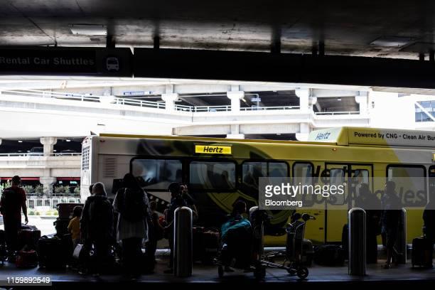 Hertz Global Holdings Inc. Shuttle bus picks up customers at Los Angeles International Airport in Los Angeles, California, U.S. On Friday, Aug. 2,...