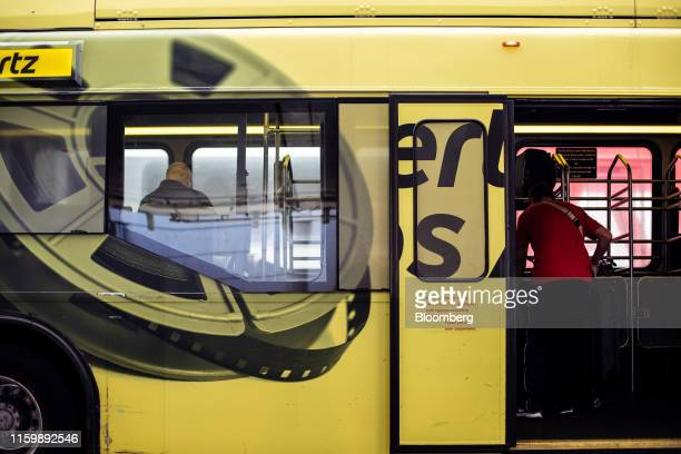 Hertz Global Holdings Inc. Shuttle bus picks up passengers at Los Angeles International Airport in Los Angeles, California, U.S., the on Friday, Aug....