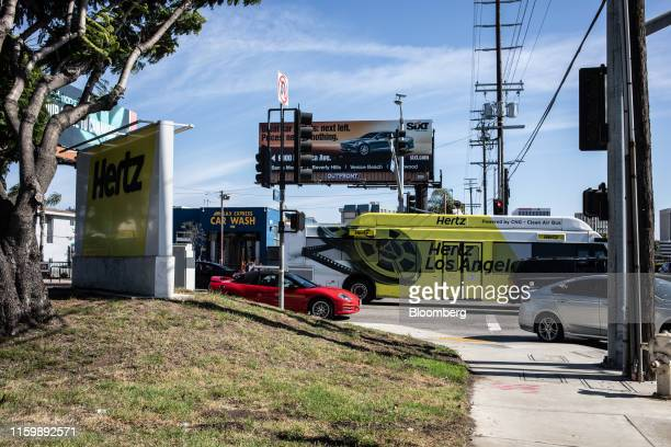 Hertz Global Holdings Inc. Shuttle bus transports passengers to terminals at Los Angeles International Airport in Los Angeles, California, U.S., the...