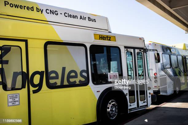 Hertz Global Holdings Inc. Shuttle bus transports passengers to the the terminals at Los Angeles International Airport in Los Angeles, California,...