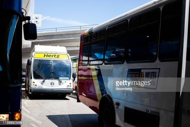 Hertz Global Holdings Inc. Shuttle bus waits to pick up customers at Los Angeles International Airport in Los Angeles, California, U.S. On Friday,...