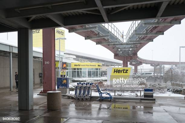 Hertz rental car location on a snowy day at Newark International Airport in Newark New Jersey March 21 2018