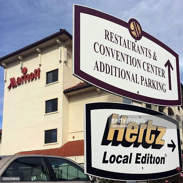 Hertz sign on front of the Marriott hotel, Buelton, California