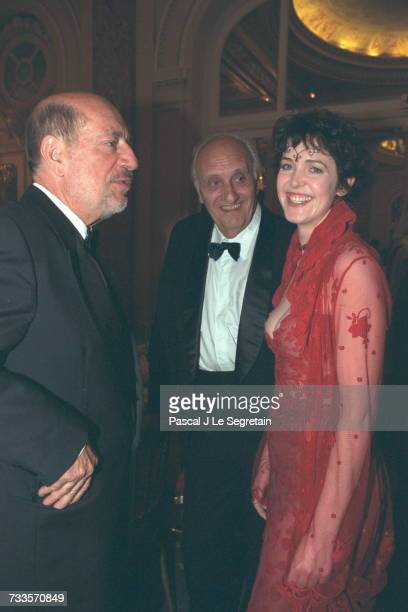 Herv{ Bouges with Pierre Tchernia and actress Agnes Soral