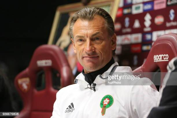 Hervé Renard head coach of Marocco national team during the press conference ahied the international friendly football match between Marocco and...