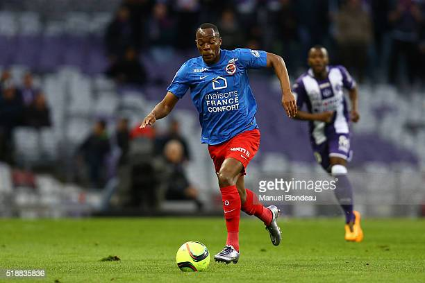 Herve Bazile of Caen during the French Ligue 1 match between Toulouse FC and SM Caen at Stadium Municipal on April 2 2016 in Toulouse France