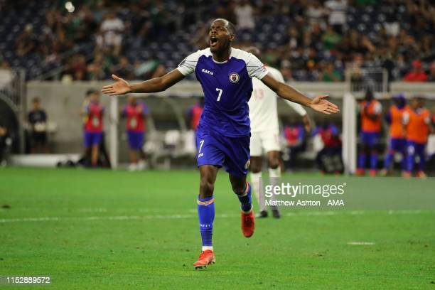 Herve Bazile of Haiti celebrates after scoring a goal to make it 2-2 during the 2019 CONCACAF Gold Cup Quarter Final match between Haiti v Canada at...