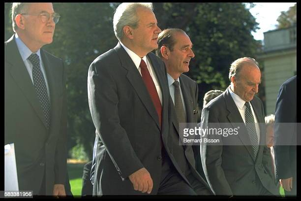 Herve de Charette Slobodan Milosevic Jacques Chirac and Alija Izetbegovic