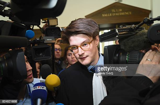 Herve Hansen the lawyer representing multinational services firm PricewaterhouseCoopers answers journalists' questions at a courthouse in Luxembourg...