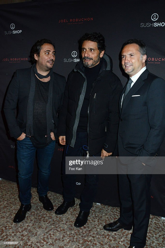 Herve Louis from Sushi Shop, Pascal Elbe and Gregory Marciano from Sushi Shop attend the Sushi Shop Launches New Menu By Joel Robuchon-Photo Call At Le Mini Palais on November 19, 2013 in Paris, France.