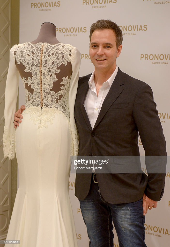 Herve Moreau poses during a press presentation for the Atelier Pronovias 2016 collection on May 4, 2015 in Barcelona, Spain.