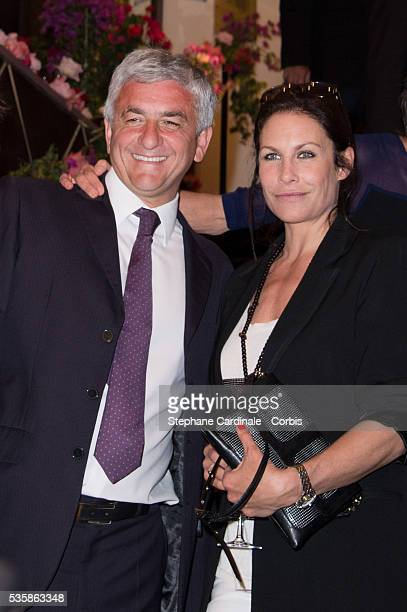 Herve Morin and Astrid Veillon attend 'Les P'tits Cracks' Charity Dinner At Pavillon des Champs Elysees in Paris