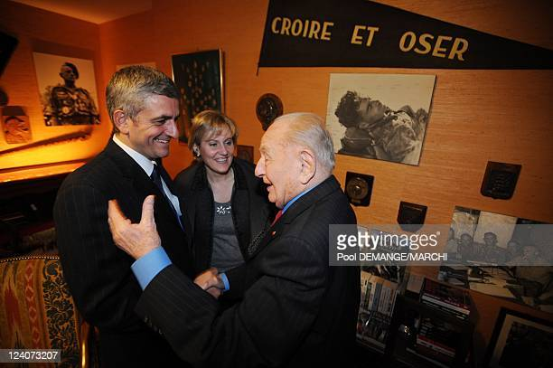 Herve Morin Minister of Defense in private visit the house of General Marcel Bigeard In Toul France On February 20 2008 The Minister of Defense Herve...