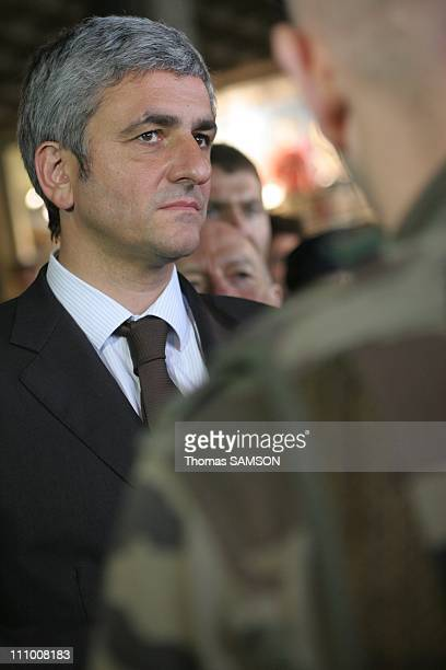 Herve Morin the new Minister of Defense visited the dispositions Vigipirate of the Gare Montparnasse and the Eiffel Tower in Paris France on May 21th...