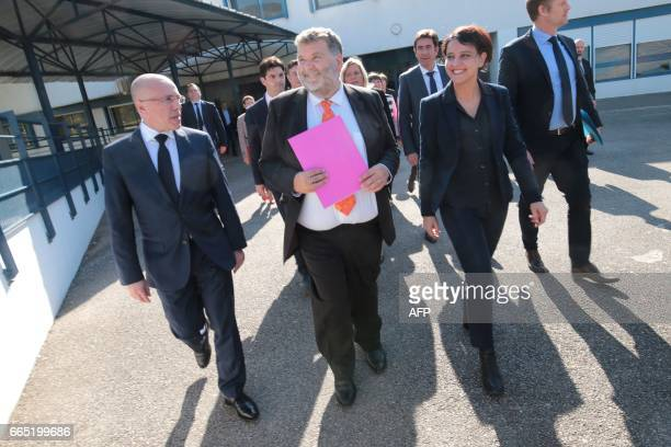 Herve Pizzinat head teacher of the Alexis de Tocqueville high school arrives with French Education Minister Najat VallaudBelkacem and President of...