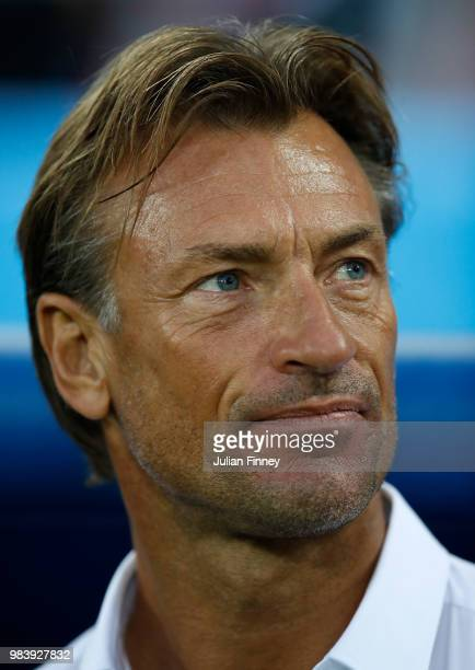 Herve Renard coach of Morocco looks on during the 2018 FIFA World Cup Russia group B match between Spain and Morocco at Kaliningrad Stadium on June...