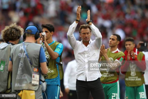 Herve Renard Head coach of Morocco applauds fans follownig his sides defeat in the 2018 FIFA World Cup Russia group B match between Portugal and...