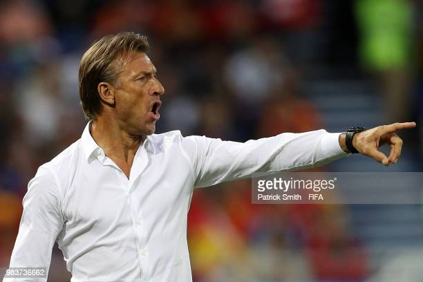 Herve Renard Head coach of Morocco gestures during the 2018 FIFA World Cup Russia group B match between Spain and Morocco at Kaliningrad Stadium on...