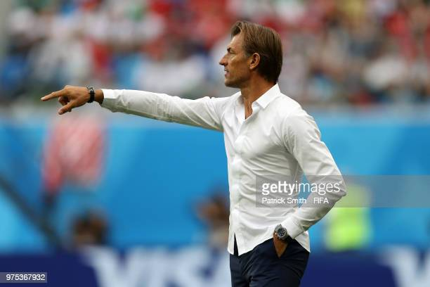 Herve Renard Head coach of Morocco gives his team instructions during the 2018 FIFA World Cup Russia group B match between Morocco and Iran at Saint...