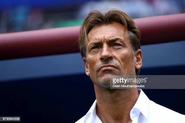 Herve Renard Head coach of Morocco looks on during the 2018 FIFA World Cup Russia group B match between Portugal and Morocco at Luzhniki Stadium on...