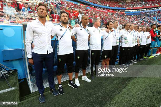 Herve Renard Head coach of Morocco looks on during the national anthems prior to the 2018 FIFA World Cup Russia group B match between Morocco and...