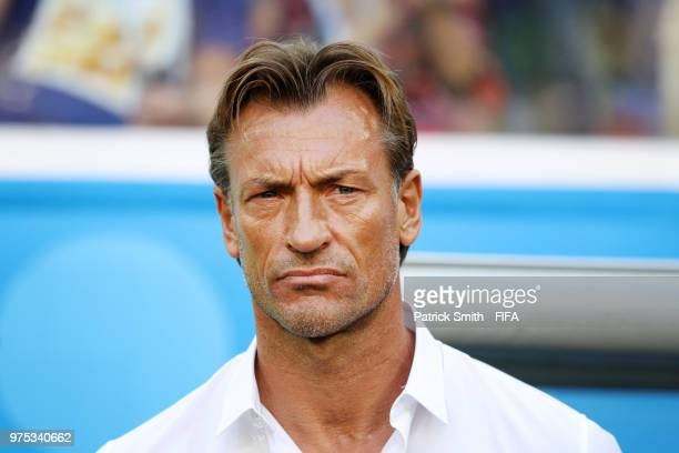 Herve Renard Head coach of Morocco looks on prior to the 2018 FIFA World Cup Russia group B match between Morocco and Iran at Saint Petersburg...