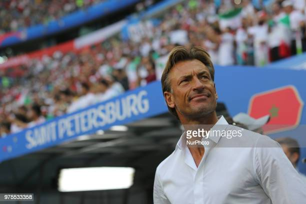 Herve Renard Head coach of Morocco looks on prior to the 2018 FIFA World Cup match first stage Group B between Morocco and Iran at Saint Petersburg...