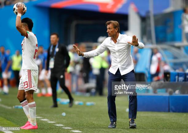 Herve Renard Head coach of Morocco reacts during the 2018 FIFA World Cup Russia group B match between Morocco and Iran at Saint Petersburg Stadium on...