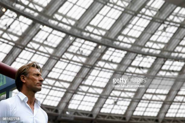 Herve Renard Head coach or manager of Morocco looks on during the 2018 FIFA World Cup Russia group B match between Portugal and Morocco at Luzhniki...