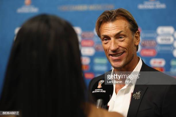 Herve Renard Manager of Morocco speaks to the media after the Final Draw for the 2018 FIFA World Cup Russia at the State Kremlin Palace on December 1...