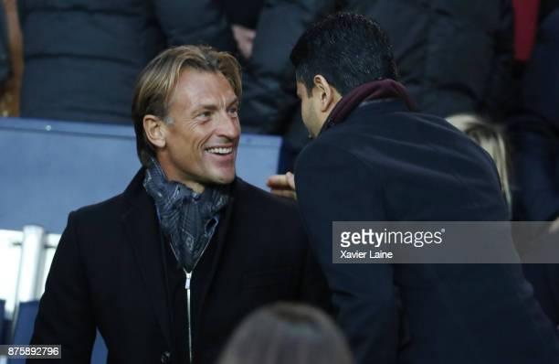 Herve Renard react with President Nasser AlKhelaifi of Paris SaintGermain before the Ligue 1 match between Paris SaintGermain and FC Nantes at Parc...