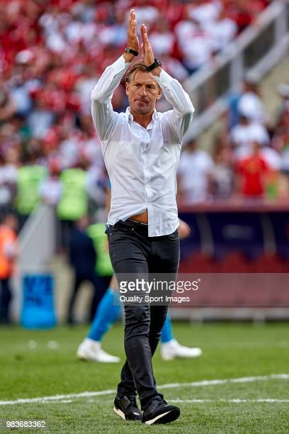 Herve Renard the manager of Morocco reacts at the end of the 2018 FIFA World Cup Russia group B match between Portugal and Morocco at Luzhniki...