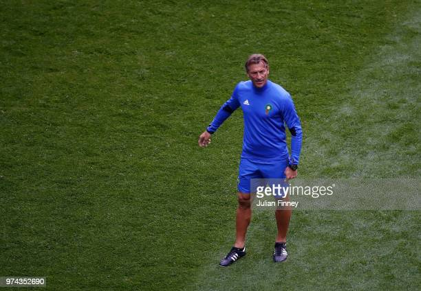 Herve Renard the Morocco head coach watches on during previews ahead of the 2018 FIFA World Cup on June 14 2018 in St Petersburg Russia