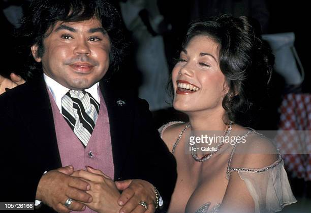 Herve Villechaize and Barbi Benton during Gallery Opening Reception for a New Art Exhibit at Melrose Avenue in Los Angeles California United States