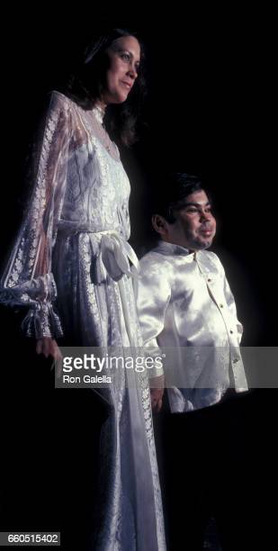 Herve Villechaize and Camille Hagen attend Third Annual Media Awards on January 22 1981 at the Beverly Hilton Hotel in Beverly Hills California