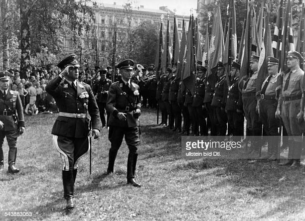 Herwarth von Bittenfeld HansWolfgang Officer major general Germany*23051871With Landesgruppenfuehrer Loeper marching down a line of soldiers at the...