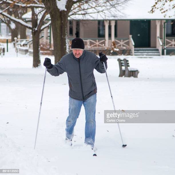 TORONTO ON DECEMBER 12 Herwig Gayer test out his new skis at Riverdale Park East in Toronto after a snowfall on December 12 2017