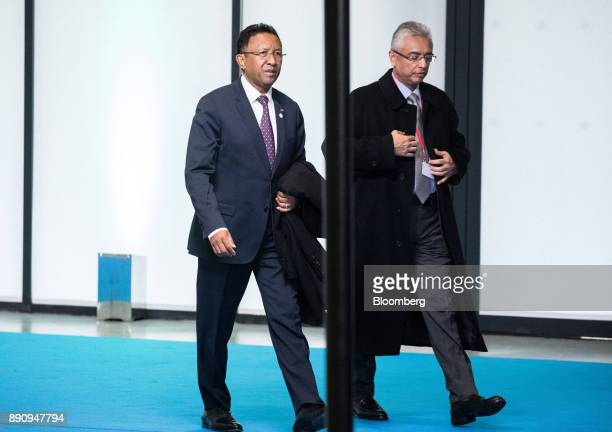 Hery Rajaonarimampianina Madagascar's president left arrives at the One Planet Summit in Paris France on Tuesday Dec 12 2017 French President...