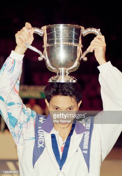 Heryanto Arbi of Indonesia with the trophy after winning the Men's All England Badminton Championship at Wembley Arena in London on 20th March 1993.