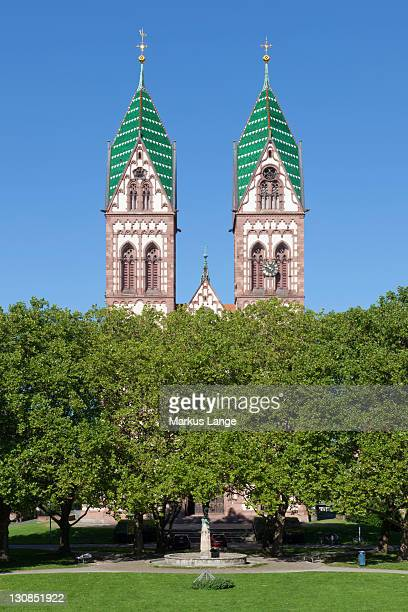 herz jesu kirche church, freiburg im breisgau, baden-wuerttemberg, germany, europe - kirche stock pictures, royalty-free photos & images