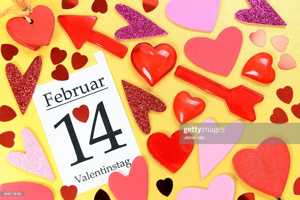 Herzen Und Kalenderblatt 14 Februar Valentinstag