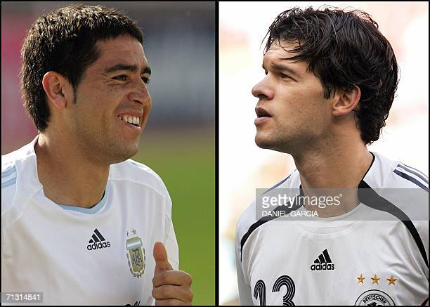 Argentinean midfielder Juan Roman Riquelme in Herzogenaurach 17 June 2006 and German midfielder Michael Ballack in Munich 24 June 2006 Argentina and...